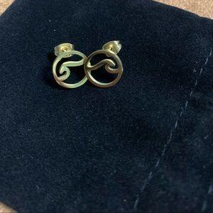 Gold beach wave earrings